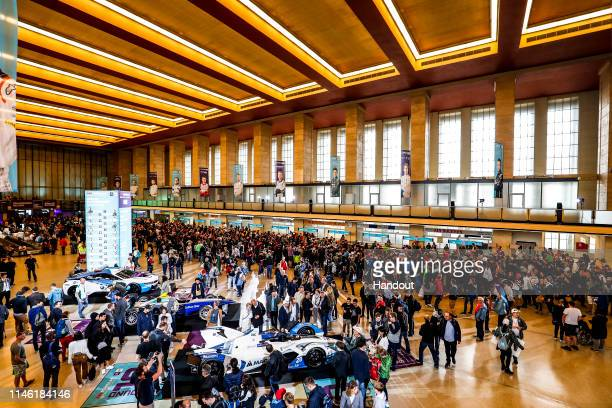 In this handout from FIA Formula E - Fans enjoy the atmosphere in the Temlehof Departures area at Tempelhof Airport on May 25, 2019 in Berlin,...