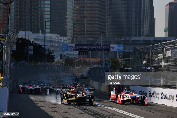 In this handout from FIA Formula E - Jean Eric Vergne , TECHEETAH, Renault Z.E. 17, leads Nick Heifeld , Mahindra Racing, Mahindra M4Electro, at the...