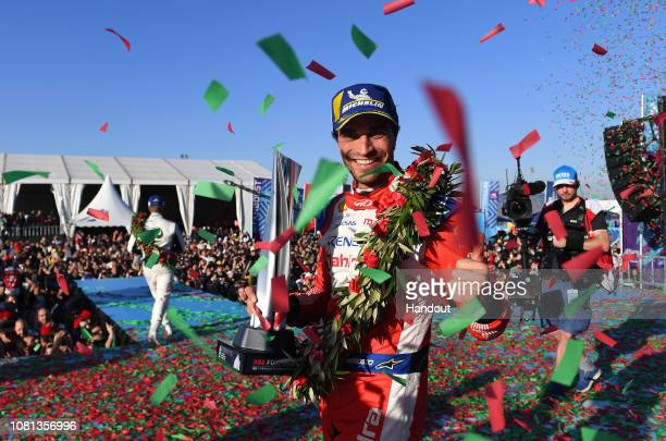 In this handout from FIA Formula E Jérôme d'Ambrosio Mahindra Racing 1st position celebrates on the podium during the Marrakesh Eprix Round 2 of the...