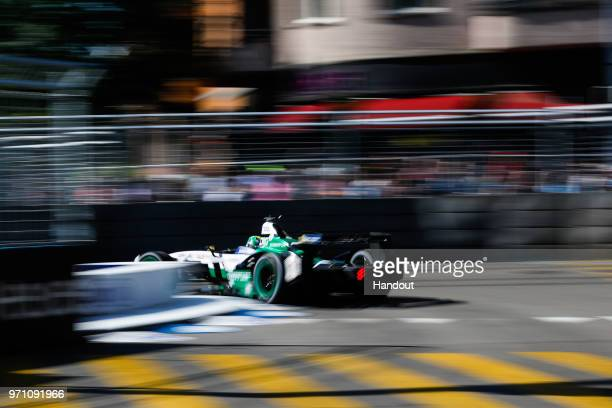 In this handout from FIA Formula E Lucas Di Grassi of Brazil and Audi Sport ABT Schaeffler Audi etron FE04 during the Zurich EPrix on June 10 2018 in...
