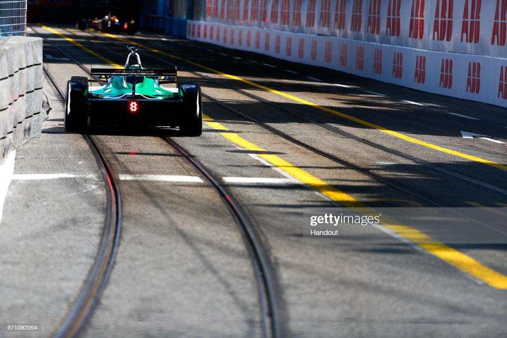 In this handout from FIA Formula E - Lucas Di Grassi of Brazil and Audi Sport ABT Schaeffler, Audi e-tron FE04. during the Zurich E-Prix on June 10, 2018 in Zurich, Switzerland.