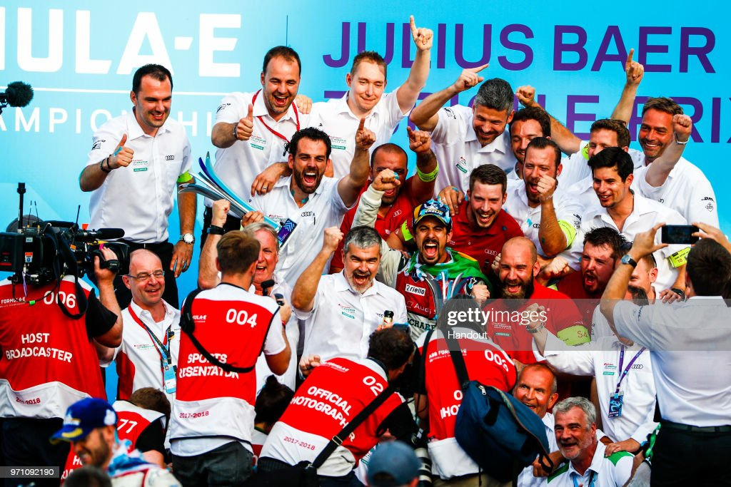 In this handout from FIA Formula E - Lucas Di Grassi of Brazil and Audi Sport ABT Schaeffler, Audi e-tron FE04, wins the Zurich ePrix. during the Zurich E-Prix on June 10, 2018 in Zurich, Switzerland.