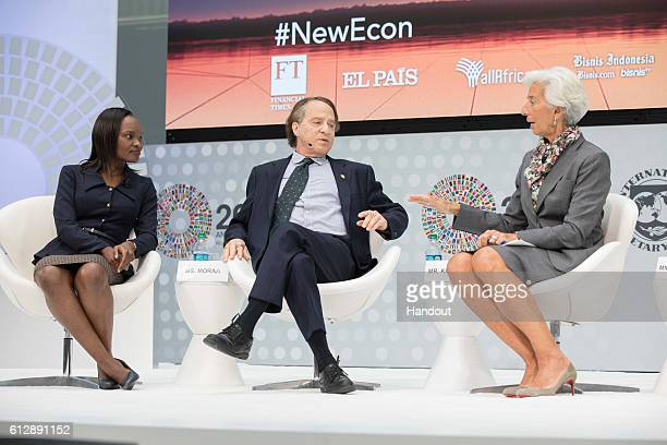 In this handout from IMF International Monetary Fund Managing Director Christine Lagarde joins Ray Kurzweil author inventor and futurist and Hilda...