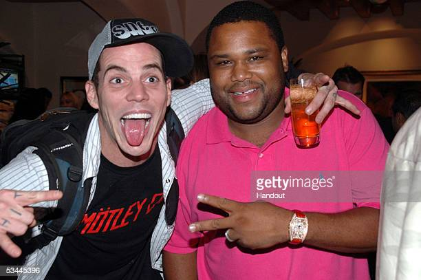 In this handout from International Pool Tour actors SteveO and Anthony Anderson are seen at the preparty for the International Pool Tour World 8Ball...