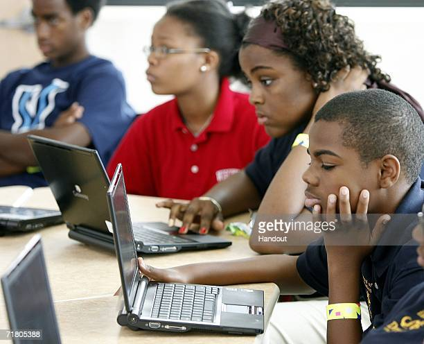 In this handout from Microsoft students work on laptops at the new Microsoft backed School of the Future September 7 2006 in Philadelphia...