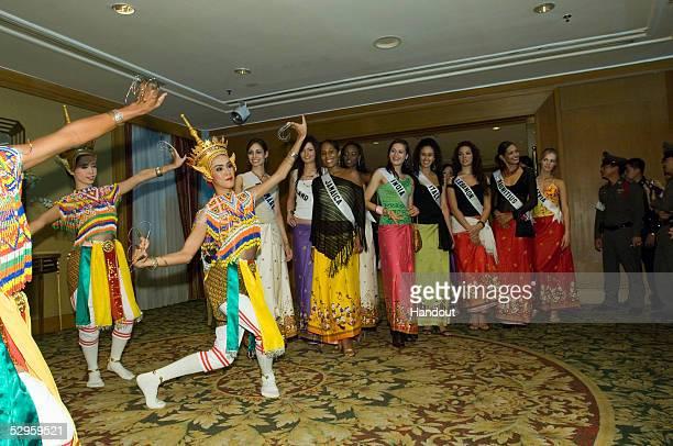 In this handout from Miss Universe LP LLLP Gitte Hanspal Miss Denmark 2005 Mary Gormley Miss Ireland 2005 Raquel Wright Miss Jamaica 2005 Candisie...