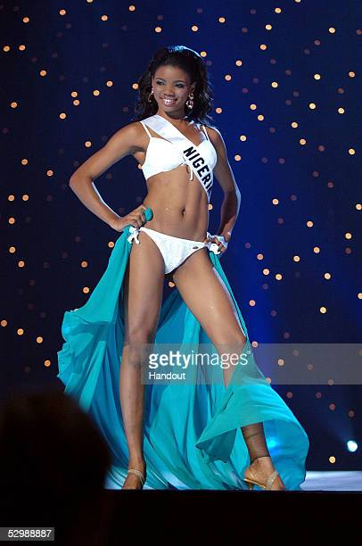 In this handout from Miss Universe Roseline Amusu Miss Nigeria 2005 competes in her BSC Swimsuit and Nina Shoes during the 2005 Miss Universe...