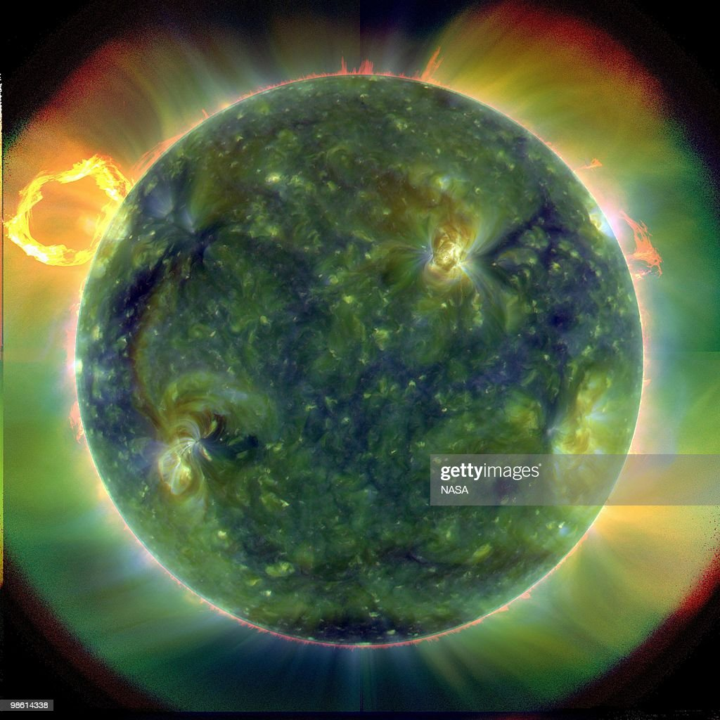 In this handout from NASA, a full-disk multiwavelength extreme ultraviolet image of the sun taken NASA's Solar Dynamics Observatory (SDO) is seen MArch 30, 2010 in space . The colors represent different gas temperatures with red being cooler and the blues and greens being hotter.