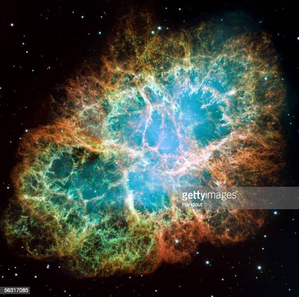 In this handout from NASA the mosaic image one of the largest ever taken by NASA's Hubble Space Telescope of the Crab Nebula shows sixlightyearwide...