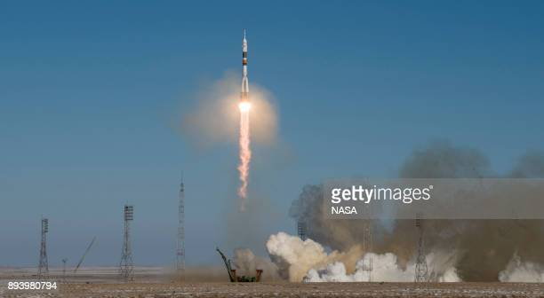 In this handout from NASA The Soyuz MS07 rocket is launched with Expedition 54 Soyuz Commander Anton Shkaplerov of Roscosmos flight engineer Scott...