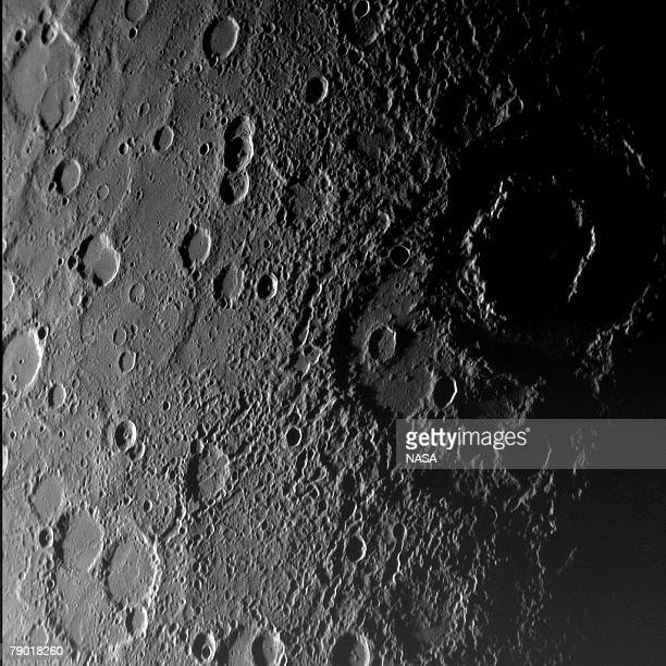 In this handout from NASA the surface of Mercury is seen in a picture taken by NASA's Messenger spacecraft as it approached the planet January 14...