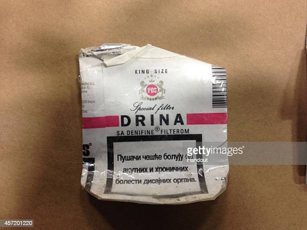 In this handout from Pennsylvania State Police a used Serbian cigarette pack thought to have been used by shooting suspect Eric Frein is seen Police...