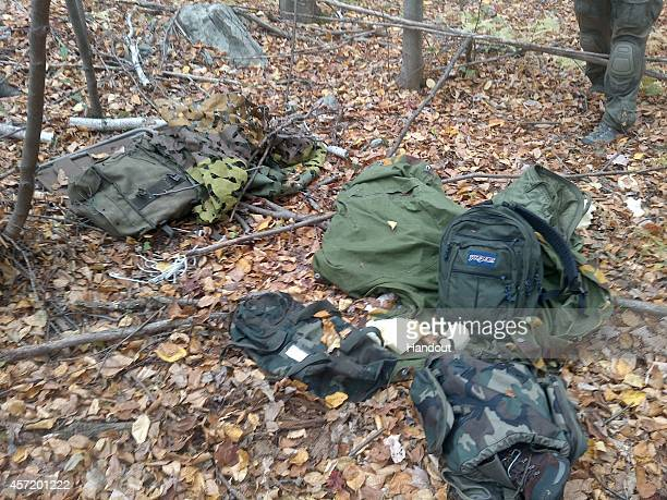 In this handout from Pennsylvania State Police camping equipment thought to have been used by shooting suspect Eric Frein is seen Police have been...