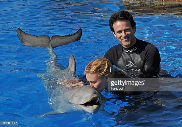 In this handout from SeaWorld San Diego 'True Blood' costars Anna Paquin and Stephen Moyer swim with a bottlenose dolphin during a Dolphin...