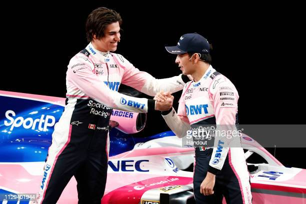 In this handout from Sportpesa Racing Point F1 Team, ,SportPesa Racing Point F1 Team unveil their new livery with drivers Lance Stroll and Sergio...