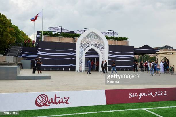 In this handout from the 2022 Supreme Committee General view of the Qatar 2022 FIFA World Cup exhibition in Gorky Park on July 7 2018 in Moscow...