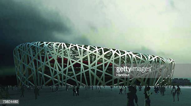 In this handout from the Beijing Organizing Committee for the Games of the XXIX Olympiad, An artist impression of the National Stadium in Beijing,...