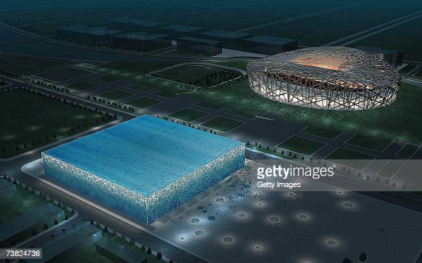 In this handout from the Beijing Organizing Committee for the Games of the XXIX Olympiad An artist impression of the National Aquatics Center and the...