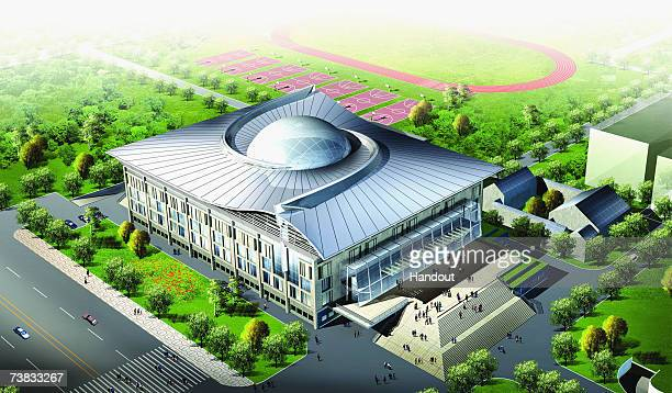 In this handout from the Beijing Organizing Committee for the Games of the XXIX Olympiad An artist impression of the Peking University Gymnasium in...