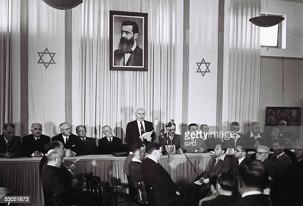In this handout from the GPO David Ben Gurion who was to become Israel's first Prime Minister reads the Declaration of Independence May 14 1948 at...