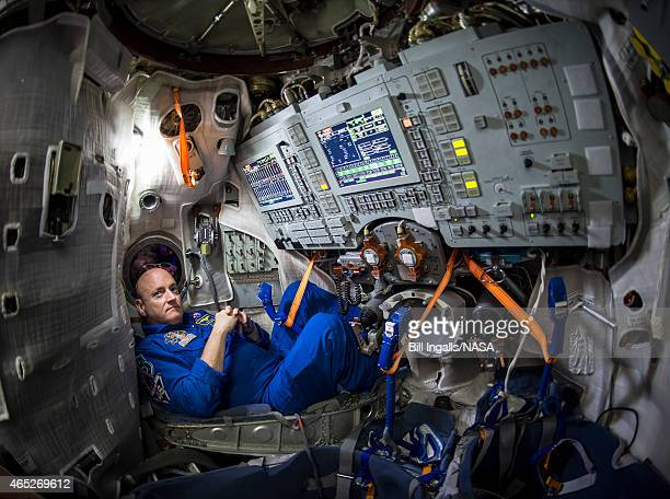 In this handout from the In this handout from National Aeronautics and Space Administration or NASA NASA Astronaut Scott Kelly is seen inside a Soyuz...