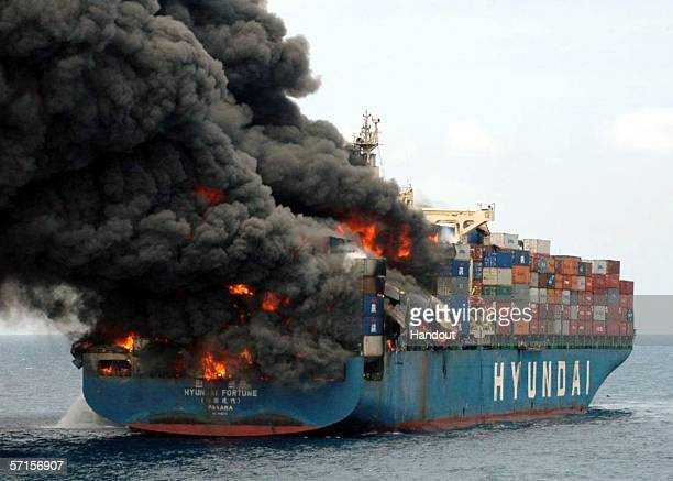 In this handout from the Netherlands Navy the ship Hyundai Fortune burns March 21 2006 in the Gulf of Aden approximately 43 miles off the coast of...
