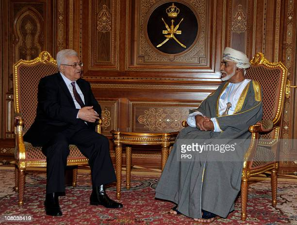 In this handout from the Palestinian Press Office, Palestinan President Mahmoud Abbas meets with Oman's Sultan Qaboos bin Said on January 14, 2010 in...