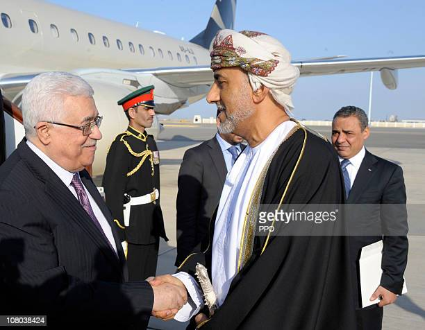 In this handout from the Palestinian Press Office Palestinan President Mahmoud Abbas meets with Oman's Sultan Qaboos bin Said on January 14 2010 in...