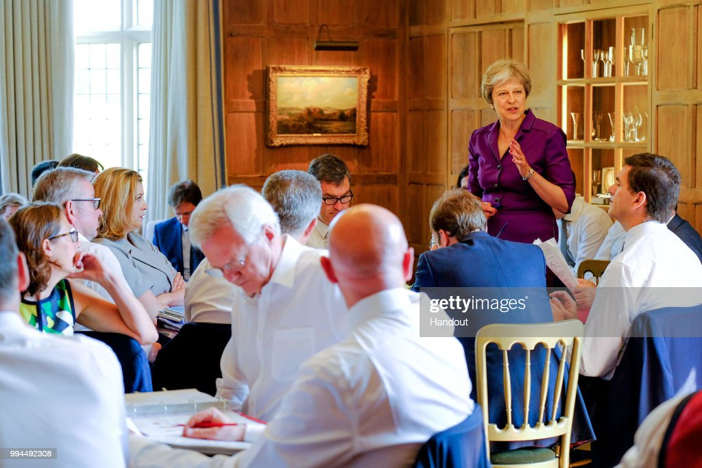 Theresa May Holds Crunch Brexit Summit At Chequers : News Photo