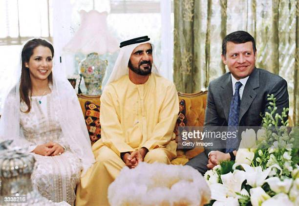 In this handout from the Royal Court of Jordan Shiekh Mohamed Bin Rashed alMaktoum Crown Prince of Dubai his bride Princess Haya Bent alHussein and...