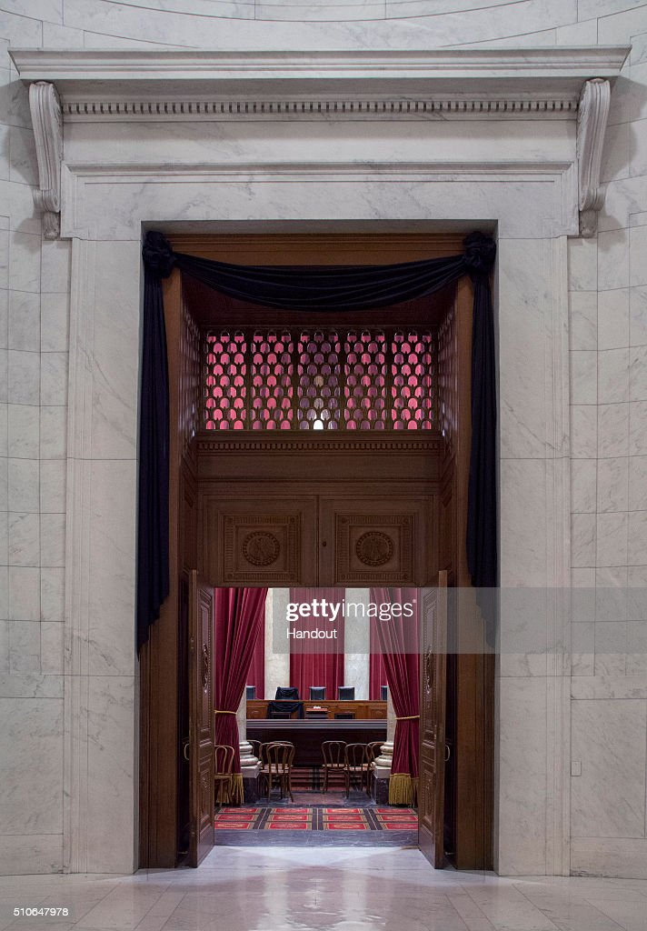 In this handout from the the Supreme Court of the United States, The doors of the courtroom are draped in black following the death of Supreme Court Associate Justice Antonin Scalia on February 15, 2016 in Washington, DC. Scalia died February 13, reportedly of natural causes, at a resort in Texas.