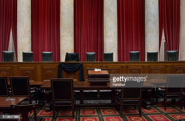 In this handout from the the Supreme Court of the United States US Supreme Court Associate Justice Antonin Scalia's Bench Chair and the Bench in...