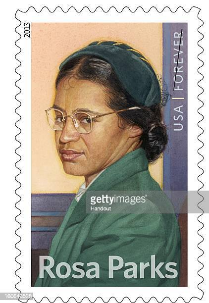 In this handout from the United States Postal Service the new Rosa Parks commemorative stamp issued by the US Postal Service honoring civil rights...