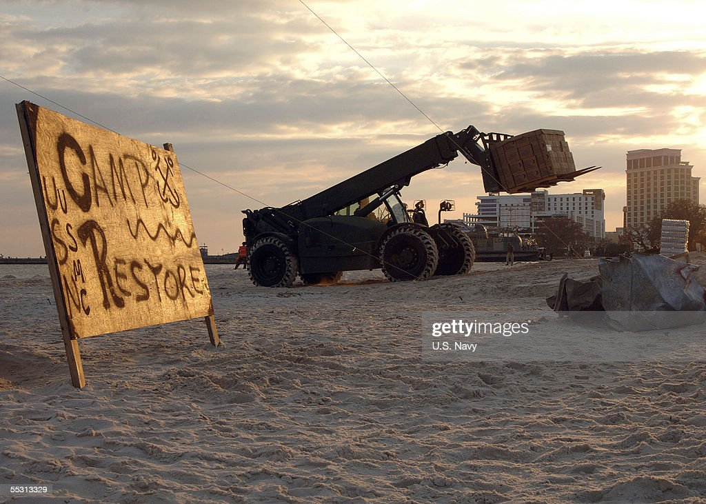 U.S. Navy Sets Up Staging Point In Biloxi : News Photo