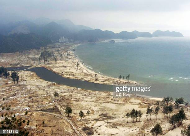 In this handout from the US Navy An aerial view of the Tsunami stricken coastal region is seen January 4 2005 near Aceh Sumatra Indonesia Medical...