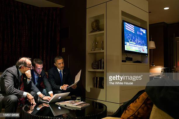 In this handout from the White House US President Barack Obama works on his acceptance speech with Jon Favreau Director of Speechwriting and campaign...