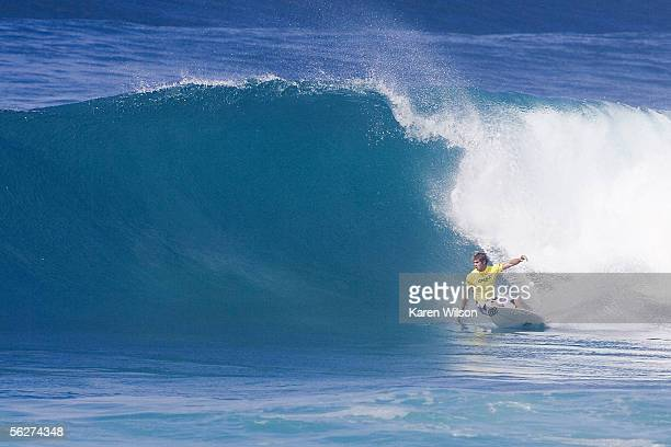In this handout from Tosteecom Warwick Wok Wright of South Africa competes during the O'Neill World Cup of Surfing at the Vans Triple Crown of...