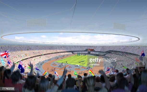 In this handout illustration provided by the Olympic Delivery Authority , a CGI rendering of the GBP500m 80,000 seat Olympic stadium is unveiled, on...