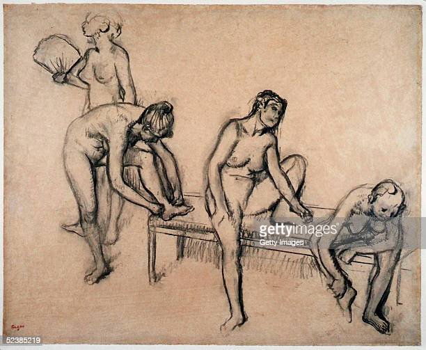 In this handout image a charcoal drawing by Edgar Degas titled Four Nude Female Dancers Resting is seen in this photo provided on March 14 2005 by...