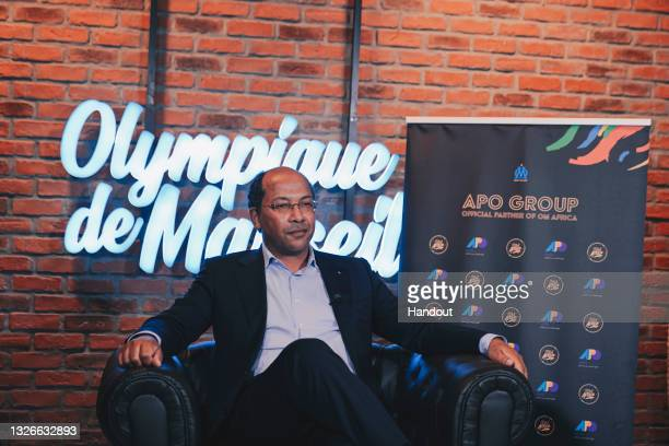 In this handout image, APO Group Founder and Chairman, Nicolas Pompigne-Mognard is seen as Olympique de Marseille and APO Group announced the...