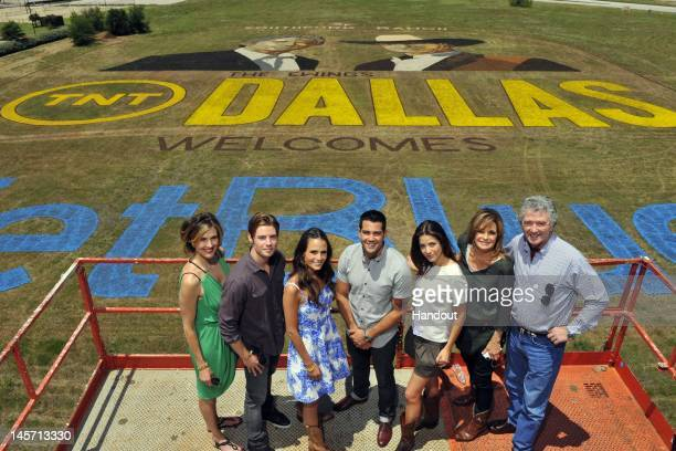 In this handout image, Brenda Strong, Josh Henderson, Jordana Brewster, Jesse Metcalfe, Julie Gonzalo, Linda Gray and Patrick Duffy are seen as TNT's...