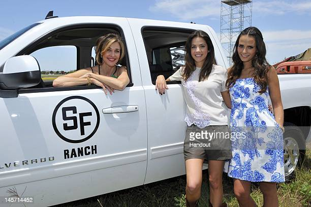 In this handout image Brenda Strong Julie Gonzalo and Jordana Brewster are seen as TNT's Dallas cast celebrates JetBlue's new service into DFW with a...