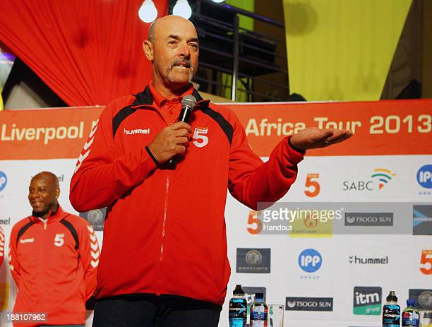 In this handout image Bruce Grobelaar during the Liverpool FC Legends and Kaizer Chiefs Legends autograph session at Suncoast Casino and...
