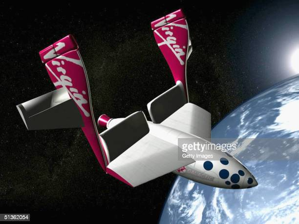 In this handout image distributed by Virgin Galactic, an artists impression is seen of a Virgin Galactic passenger spacecraft, released September 27...