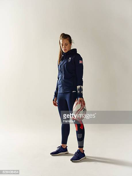 In this handout image from adidas Team GB Rugby 7's athlete Emily Scarratt pictured in adidas Team GB Rio 2016 Olympic kit in London England
