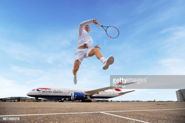 In this handout image from British Airways British Airways shows their support for British number one tennis player Kyle Edmund ahead of the...