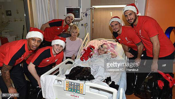 In this handout image from Liverpool FC Jordan Henderson Dejan Lovren Emre Can Jordan Rossiter and Nathaniel Clyne of Liverpool at Alder Hey...