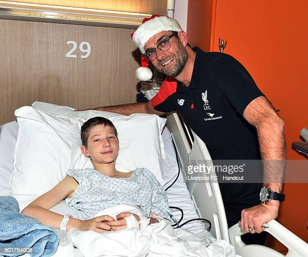 In this handout image from Liverpool FC Jurgen Klopp manager of Liverpool at Alder Hey Children's Hospital on December 17 2015 in Liverpool England