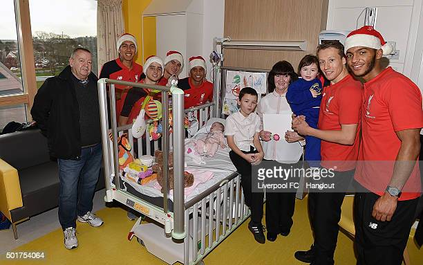 In this handout image from Liverpool FC Lucas Leiva Philippe Coutinho Roberto Firmino Joe Gomez and Allan Rodrigues de Souza of Liverpool at Alder...