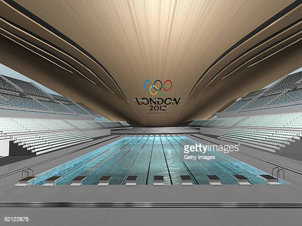 In this handout image from London 2012 Ltd the interior design of London's first new Olympic venue is seen revealing a stateoftheart Aquatics Centre...